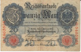#46b Germany 20 Marks 1914 Banknote Currency Money - [ 2] 1871-1918 : Duitse Rijk