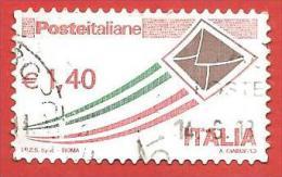 ITALIA REPUBBLICA USATO - 2009 - Posta Italiana Ordinaria Busta Che Spicca Il Volo - € 1,40 - S. 3103 - 6. 1946-.. Republic