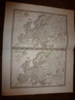 1831 Cartes De L'EUROPE 1789 Et 1813  Dressée Par Lapie 1er Géographe Du Roi,gravure Lallemand,Chez Eymery Fruger & Cie - Geographical Maps