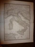 1832 Carte De L' ITALIE Ancienne Par Lapie 1er Géographe Du Roi,gravure Lallemand,Chez Eymery Fruger & Cie - Geographical Maps