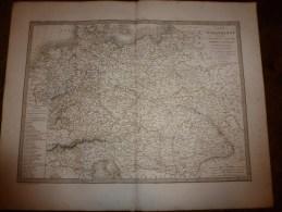 1830 Carte De L' ALLEMAGNE Ancienne Par Lapie 1er Géographe Du Roi,gravure Lallemand,Chez Eymery Fruger & Cie - Geographical Maps