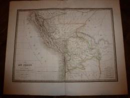 1829 Carte Du PEROU Et Ht PEROU Par Lapie 1er Géographe Du Roi,gravure Lallemand,Chez Eymery Fruger & Cie - Geographical Maps