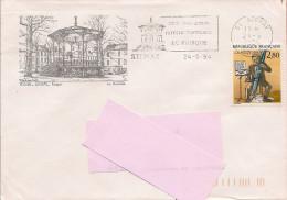 55 -  Flamme De STENAY (centenaire Du Kiosque) Sur Enveloppe Illustrée De Stenay Avec Le Kiosque,timbre Plaisir D'écrire - Marcophilie (Lettres)