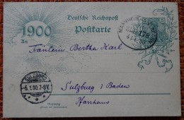 Germany Pws 1900-01-05 Mannheim To  Sulzburg Entier Ganzsache Postal Stationery Card A 2,50 Euro - Ganzsachen
