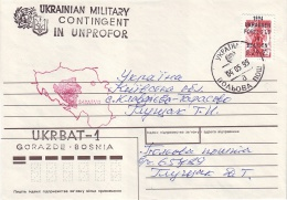 1995. UKRAINIAN MILITARY CONTINGENT UNPROFOR IN BOSNIA. UKRBAT-1. Letter Franking By Provisory Stamp 25 Cents - Ukraine