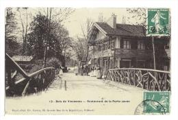 Cp, Commerce, Bois De Vincennes, Restaurant De La Porte Jaune, Voyagée 1908 - Restaurants