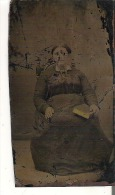 Tin Type Photo A Lady Sitting In A Chair - Other