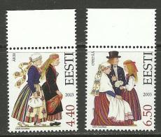 ESTLAND Estonia 2003 Trachten Folk Costumes Äksi & Otepää Michel 472 - 473 MNH - Costumes