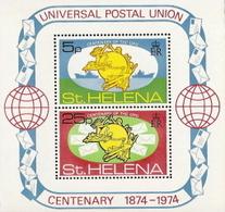 St Helena,  Scott 2015 # 284a,  Issued 1974,  S/S Of 2,  MNH,  Cat $ 1.05, UPU - St. Helena