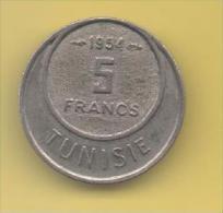 TUNEZ - PROTECTORADO FRANCES -  5 Francs 1954 KM277 - Túnez