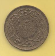 TUNEZ - PROTECTORADO FRANCES -  5 Francs 1946 KM273 - Túnez