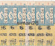 6 TICKETS DE TRANSPORT RATP BUS NON SEPARES ANNEES 1950 OU 1960 AYANT SERVI