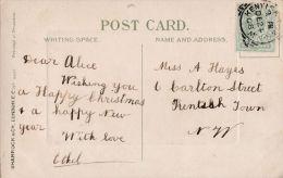 POSTAL HISTORY -1908 SQUARED CIRCLE CANCELLATION -KENTISH TOWN - Storia Postale