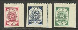 LETTLAND Latvia 1919 Michel 3 - 5 B Einseitig Gezähnt * - Latvia