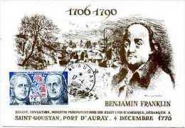 FRANCE- Carte Maximun 1990. Benjamin Franklin  Débarque à Auray Le 4/12/1776. Savant, Inventeur,ministre - Wissenschaften