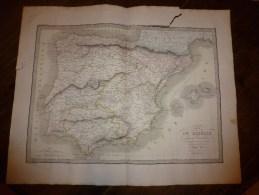 1830 Carte De L' IBERIE (ESPAGNE Ancienne),par Lapie 1er Géographe Du Roi, Gravure Lallemand,Chez Eymery Fruger & Cie - Geographical Maps