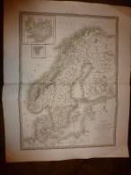 1830 Carte De SCANDINAVIE(Suede,Norvège,Danemark),par Lapie Géographe Du Roi,gravure Lallemand,Chez Eymery Fruger & Cie - Geographical Maps