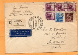 Italy 1946 Registered Cover Mailed To USA - 6. 1946-.. Repubblica