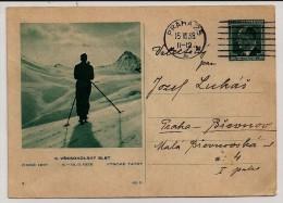 Tchécoslovaquie, 1938, Carte Postale, Réunion De Sport D´hiver, Mouvement Sokol, Dans Les Hautes Tatras, Prague 15-7-38 - Inverno