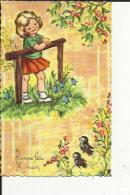 Carte Dentelée Glacée  De Fillette  Regardant Fleurs Et Oiseaux Dans La Nature ( Neuve - Fête Des Mères