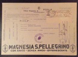 TELEGRAMMA PUBBLICITARIO  MOD.25 (telegrafi) Ord.7 Del 28-8-1935 - MARSANO - GENOVA  -CON RICEVUTA ALLEGATA  MAGNESIA S. - Marcophilia