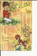 Carte Dentelée Glacée  D'Enfant Avec Bouquet De Fleurs -Oiseau Et Ecureuil ( Neuve - Fête Des Mères