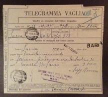 TELEGRAMMA VAGLIA -  MOD.1 C -  ANNULLI SANTO SPIRITO + DARI Lineari + GULLER IN DATA 10/11/50 - RARO - 1946-60: Marcophilia