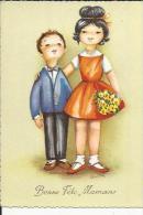 Carte Dentelée  De Couple D'Enfants Offrand Des Fleurs-( Neuve - Fête Des Mères