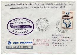 Enveloppe - Premier Vol Direct AIR FRANCE  Boeing 707 - FORT DE FRANCE PARIS  - 16 Décembre 1964 - First Flight Covers