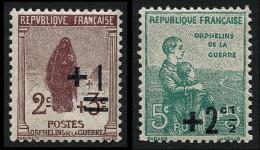 FRANCE 1922 - Yv. 162 Et 163 **   Cote= 2,50 EUR - 2ème Série Orphelins De Guerre Avec Surch (2 Val.) ..Réf.FRA26665 - Nuovi