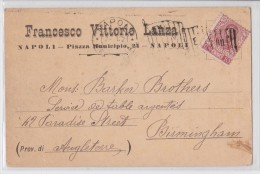 Napoli - Francesco Vittorio Lanza Piazza Municipio 24 Pour Birmingham - Cartolina 1902 - Carte Publicitaire Naples - Pubblicitari