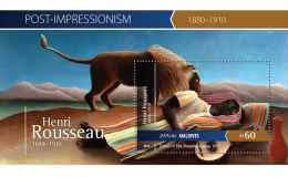 mld15406b Maldives 2015 Impressionism Painting Henri Rousseau s/s Lion Music