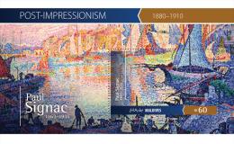 Mld15410b Maldives 2015 Impressionism Painting Paul Signac S/s Ship - Impressionisme