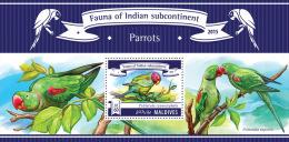 mld15306b Maldives 2015 Fauna of Indian Subcontinent Birds Parrots s/s