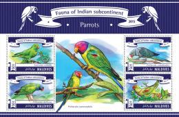 mld15306a Maldives 2015 Fauna of Indian Subcontinent Birds Parrots s/s