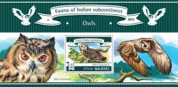 mld15302b Maldives 2015 Fauna of Indian Subcontinent Birds owls s/s