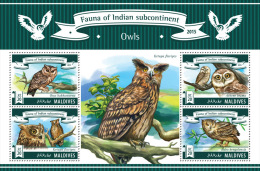 mld15302a Maldives 2015 Fauna of Indian Subcontinent Birds owls s/s