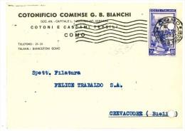 COMO - CARTOLINA COMMERCIALE DITTA COTONIFICIO COMENSE - Como