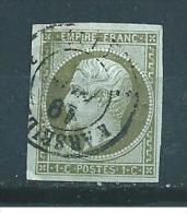 France Napoleon III  N°11  Oblitéré 1ct Olive (cote 90€) - 1853-1860 Napoleone III