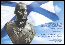 Russia Double Postal Card #2013-106 Earthquake In Messina. Monument To Admiral Fyodor Ushakov - Enteros Postales