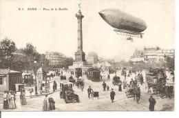 75 - PARIS - Place De La Bastille  - Animation - Dirigibili