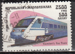 Madagascar, 1993 - 2500fr, Sweden's Fast Train - Nr.1206 Usato° - Madagascar (1960-...)