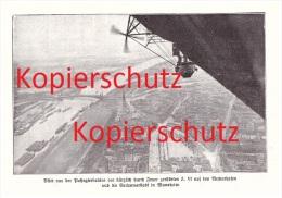 Original Zeitungsausschnitt - 1911 - Zeppelin Z. VI , Durch Feuer Zerstört , Blick Auf Neckarhafen In Mannheim !!! - Fliegerei
