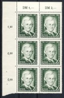 """1954 Germany DDR MNH set of 1 Stamp in Corner Block of 6  """" Lessing """" Michel 423"""