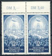 """1954 Germany DDR MNH Pair of 2 Stamps with tabs  """" 4 Powers Conference Berlin """" Michel 424"""