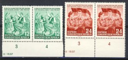 """1954 Germany DDR MNH set of 2 Stamps in pairs with tabs  """" Youth Meeting """" Michel 428-429"""