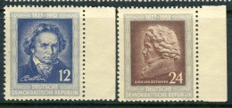 """1952 Germany DDR MNH complete set of 2 Stamps with tabs  """" Beethoven """" Michel 300-301"""