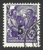 DDR, 5 pf. on 6 pf. 1954, Sc # 216, Mi # 435, used