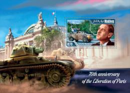 mld15104b Maldives 2015 70th anniversary of the Liberation of Paris WW2 Charles de Gaulle s/s car Michel:5549 / Bl.772