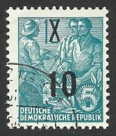 DDR, 10 pf. on 12 pf. 1954, Sc # 218, Mi # 437, used